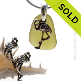 Perfect piece of natural citron green sea glass from Puerto Rico combined with Solid Sterling Flamingo charms for a great beachy look. SOLD - Sorry this Sea Glass Jewelry Selection is NO LONGER AVAILABLE!