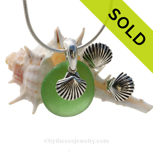 Perfect piece of bright green sea glass from Puerto Rico combined with Solid Sterling Shell charms for a great beachy look. SOLD - Sorry this Sea Glass Jewelry Selection is NO LONGER AVAILABLE!
