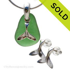 Perfect piece of bright green sea glass from Puerto Rico combined with Solid Sterling Whale Tail charms for a great beachy look.