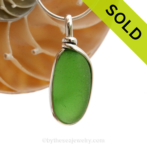 A nice small or medium piece of Vivid Bright Green sea glass in an elegant and versatile and original Sea Glass Necklace. SOLD - Sorry this Sea Glass Necklace is NO LONGER AVAILABLE!