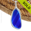 An rich vivid mixed Bright Blue English Multi sea glass set for a necklace in our Original Sea Glass Bezel© in solid sterling silver setting. SOLD - Sorry this Ultra Rare Sea Glass Pendant is NO LONGER AVAILABLE!