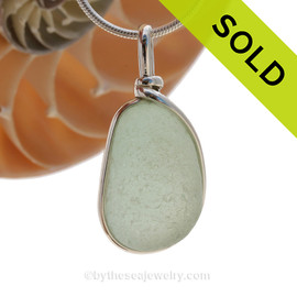 A long seafoam green natural sea glass in my Original Sterling Wire Bezel© a simple design that lets all the beauty of this glass shine. Great pendant for any necklace! SOLD - Sorry this Sea Glass Pendant is NO LONGER AVAILABLE!