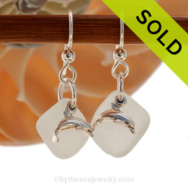 Airy and light pure White Sea glass Earrings in sterling with sterling Dolphin charms! SOLD - Sorry these Sea Glass Earrings are NO LONGER AVAILABLE!