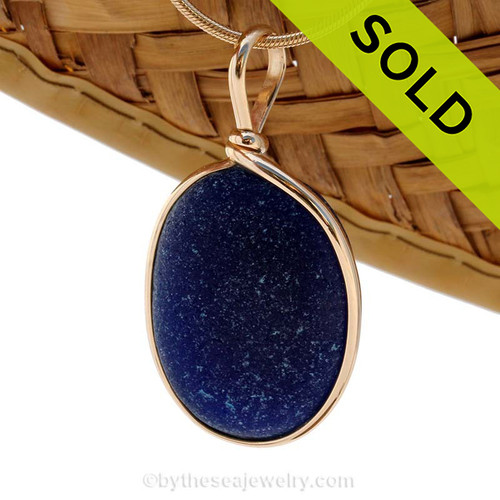 A P-E-R-F-E-C-T and LARGE midnight blue Genuine Sea Glass pendant set in our 14K Goldfilled Original Wire Bezel. SOLD - Sorry this Rare Sea Glass Pendant is NO LONGER AVAILABLE!