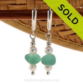 Genuine Aqua Sea Glass Earrings with sterling details and AAA grade pearls on solid sterling leverback earrings. SOLD - Sorry these Rare Sea Glass Earrings are NO LONGER AVAILABLE!