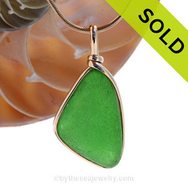 LARGE Perfect Vivid Green Sea Glass In 14K Goldfilled Wire Bezel Setting©  SOLD - Sorry this Sea Glass Pendant is NO LONGER AVAILABLE!