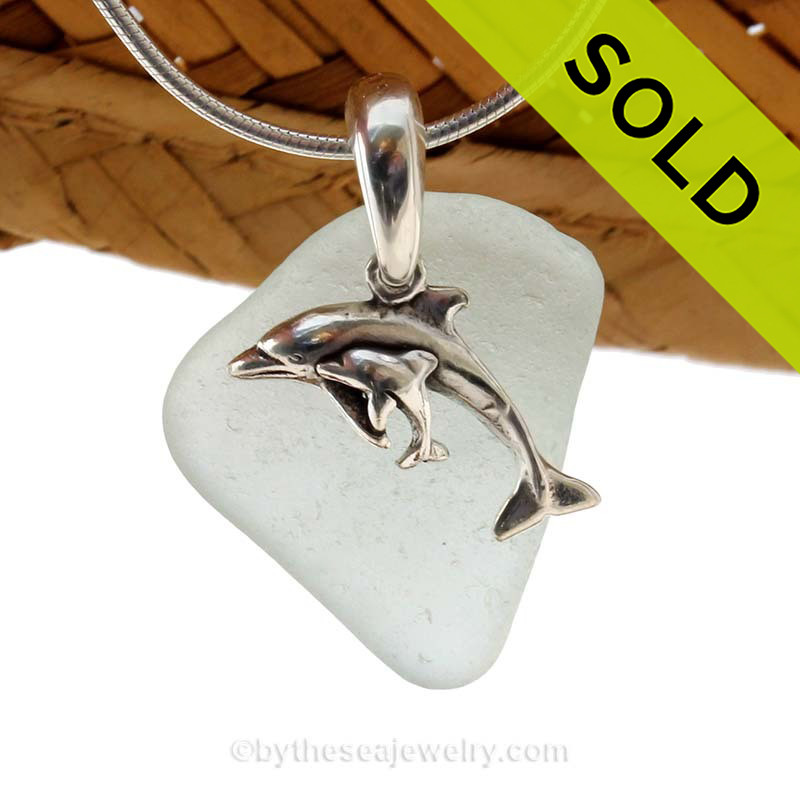 Sterling Silver Mother and Baby Calf Dolphins Charm