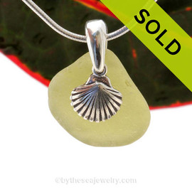 "Bright Citron Green Sea Glass With Sterling Silver Sea Shell Charm - 18"" STERLING CHAIN INCLUDED  SOLD - Sorry this Sea Glass Necklace is NO LONGER AVAILABLE!"