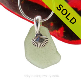 "Bright Sea Green Sea Glass Necklace With Sterling Silver Sea Shell Charm - 18"" STERLING CHAIN INCLUDED. SOLD - Sorry this Sea Glass Jewelry selection is NO LONGER AVAILABLE!"