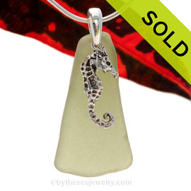 LARGER Seaweed Green or Peridot sea glass set on a Solid Sterling Cast bail with a Sterling Silver Seahorse Charm -  Quality Chain INCLUDED! SOLD - Sorry this Sea Glass Necklace is NO LONGER AVAILABLE!