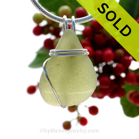 This natural perfect sea glass piece is Light Olive Green Genuine Sea Glass In Sterling Sea Swirl Setting Pendant for Necklace . Sorry this Sea Glass Pendant has been SOLD!