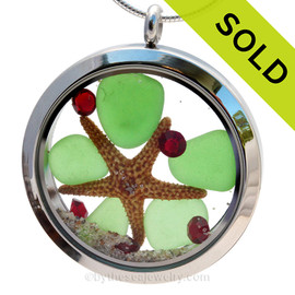 Green sea glass and vivid ruby red gemstones make this a great jumbo locket necklace for the holidays. SOLD - Sorry this Sea Glass Locket is NO LONGER AVAILABLE!