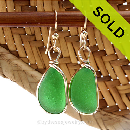SOLD - These Sea Glass Earrings are NO LONGER AVAILABLE! Perfect natural long thick sea glass pieces set in our in 14K G/F Original Wire Bezel© sea glass earring setting. All of our sea glass jewelry is individually photographed. This is the EXACT pair of sea glass earrings you will receive!