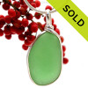 A LARGER and stunning Green Sea Glass Pendant set in our Original Wire Bezel© setting. This sea glass is  totally frosted (the values of world class sea glass). SOLD - Sorry This Sea Glass Jewerly Selection Is NO LONGER AVAILABLE!