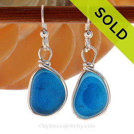 Super Ultra Rare Flashed Aqua blue sea glass pieces from Seaham England are set in our Original Wire Bezel© earring setting. SOLD - Sorry This ULTRA RARE Sea Glass Earrings are NO LONGER AVAILABLE!