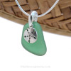 """The sea glass necklace comes on our 18"""" solid sterling smooth snake chain (SHOWN and included)"""