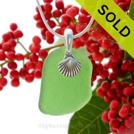 "Bright Green Sea Glass With Sterling Silver Sea Shell Charm - 18"" STERLING CHAIN INCLUDED  SOLD - Sorry This Sea Glass Jewerly Selection Is NO LONGER AVAILABLE!"