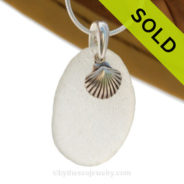"Pure white Genuine Sea Glass Necklace With Sterling Silver Sea Shell Charm - 18"" STERLING CHAIN INCLUDED. SOLD - Sorry this Sea Glass Necklace is NO LONGER AVAILABLE!"