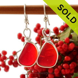 Vivid Bright Red Sea Glass Earrings set in our Original Wire Bezel© in silver. Sorry this Ultra Rare Sea Glass Jewelry selection has been SOLD!