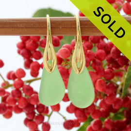 A pair of natural beach found Sea Glass Earrings in a Seafoam Green on 24K Gold Vermeil Leverbacks. SOLD - These Sea Glass Earrings are NO LONGER AVAILABLE!