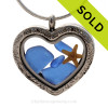 Cobalt Blue sea glass combined a large silver heart locket necklace with starfish. This is a reversible locket that has a filigree pattern on one side and is plain on the other side. SOLD - Sorry this Sea Glass Locket is NO LONGER AVAILABLE!