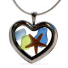 Cobalt Blue, Carolina Blue and Lime Green sea glass combined a large silver heart locket necklace with starfish.