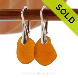 Simply Elegant Warm Brown Genuine Sea Glass Earrings On Silver Leverbacks
