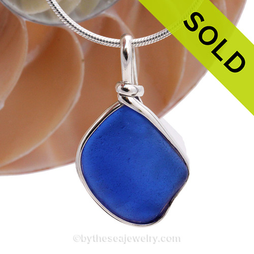 A neat Cobalt Blue Genuine Sea Glass with in our signature Original Wire Bezel© pendant setting in Sterling Silver. SOLD - Sorry this Rare Genuine Sea Glass Pendant is NO LONGER AVAILABLE