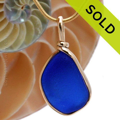 A rich and stunning Cobalt Blue Genuine Sea Glass Pendant in my Original Gold Wire Bezel© SOLD - Sorry this Rare Sea Glass Pendant is NO LONGER AVAILABLE!