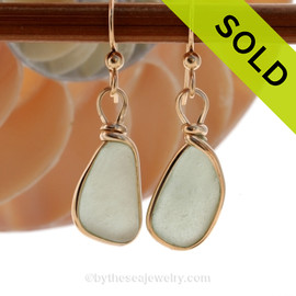 Genuine beach found soft seafoam green sea glass earrings in a 14K Rolled Gold Original Wire Bezel setting. SOLD - Sorry this Sea Glass Jewelry Selection is NO LONGER AVAILABLE!