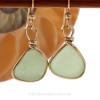 Genuine beach found vivid yellowy seafoam green sea glass earrings in a 14K Rolled Gold Original Wire Bezel setting.
