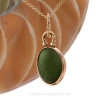 Small Seaweed Green English Sea Glass Charm Necklace in 14K Goldfilled