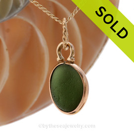Seaweed Green English Charm Necklace Genuine Sea Glass Charm - Or For Bracelet Or Anklet