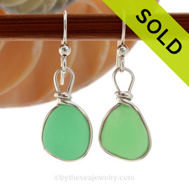 Vivid UV Jadeite Green Sterling English Earrings Sea Glass Sterling Wire Bezel©