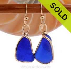Our By The Sea Jewelry Original Wire Bezel setting makes these cobalt blue earrings a stunning choice.