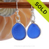 Blue Sea Glass Earrings in a Solid Sterling Silver Custom Bezel Setting. SOLD - Sorry these Rare Sea Glass Earrings are NO LONGER AVAILABLE!