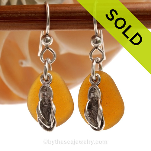 Perfect genuine brown Sea Glass Earrings combined with Solid Sterling Flip Flop charms. SOLD - Sorry these Sea Glass Earrings are NO LONGER AVAILABLE!