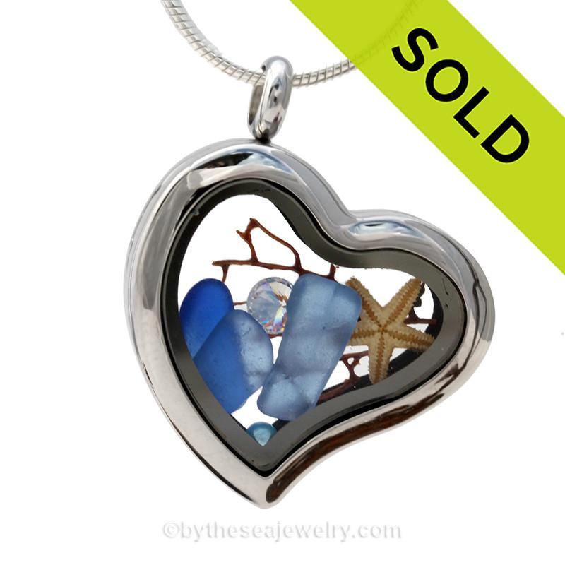 Carolina Girls Carolina Blue Beach Found Sea Glass Heart Locket