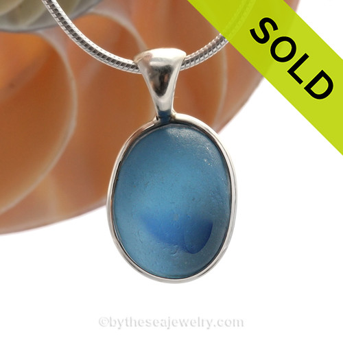 Stunning light and medium blue Multi sea glass set for a necklace in our Deluxe Sea Glass Bezel© in solid sterling silver setting. SOLD - Sorry this Ultra Rare Sea Glass Pendant is NO LONGER AVAILABLE!