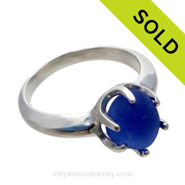 GENUINE Vivid Cobalt Blue Seaham Sea Glass Resizable Ring In Sterling - Size 8  SOLD - Sorry this Sea Glass Ring is NO LONGER AVAILABLE!