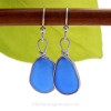 Larger Cobalt Blue Genuine Sea Glass Earrings set in our Original Wire Bezel in Sterling.