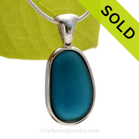 Stunning Smokey Royal Blue sea glass set for a necklace in our Deluxe Sea Glass Bezel© in solid sterling silver setting. SOLD - Sorry this Ultra Rare Sea Glass Pendant is NO LONGER AVAILABLE!