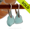 Genuine Aqua Sea Glass Earrings On Sterling Leverbacks. SOLD - Sorry these Rare Sea Glass Earrings are NO LONGER AVAILABLE!