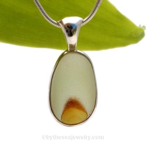 Golden Sunrise- Mixed Golden Yellow English Pontil Sea Glass Pendant In Sterling Deluxe Wire Bezel© This amazing natural sea glass piece was once the tip of a punty used in glass making.