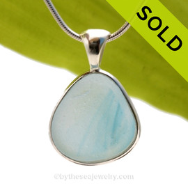 This is a LARGE Ultra Rare Seaham mixed light blue sea glass in an aqua base multi color pendant is set in our Deluxe Wire Bezel© pendant setting. SOLD - Sorry this Ultra Rare Sea Glass Pendant is NO LONGER AVAILABLE!