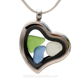 "Beautiful Genuine Sea Glass Pieces in this Simple Economy Genuine Sea Glass Heart Locket Necklace. Comes with a Free PLATED 18 "" Chain (not shown)."