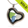 """Beautiful Genuine Sea Glass Pieces in this Simple Economy Genuine Sea Glass Heart Locket Necklace. Comes with a Free PLATED 18 """" Chain (not shown)."""