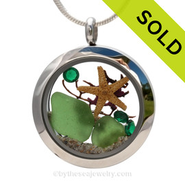 Vivid Green Genuine Sea Glass in this Stainless Steel Locket Necklace is combined with vivid Emerald Green Crystals and a bit of vintage Seafan and baby Starfish. SOLD - Sorry this Sea Glass Locket is NO LONGER AVAILABLE!