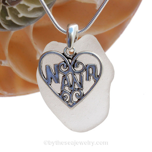 A  perfect  well frosted piece of larger pure White Genuine Sea Glass Heart Necklace with a solid sterling bail and large Silver Sterling Nana charm. This piece comes complete with our sterling 1.3 MM snake chain.