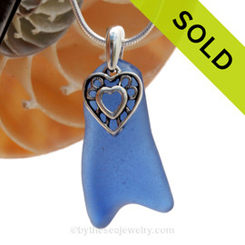 A LARGE and top quality Rare Cobalt Blue beach found sea glass necklace set on a solid sterling cast bail with a sterling silver Heart In Heart charm. SOLD - Sorry this Rare Sea Glass Pendant is NO LONGER AVAILABLE!